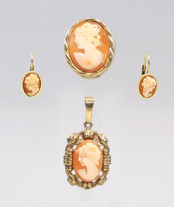 8325118 333er Gold Muschel-Kameé Garnitur Ring Ohrringe Anhänger