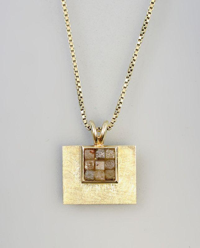 8325061 585er Gold Roh-Diamant-Anhänger an Kette L40cm