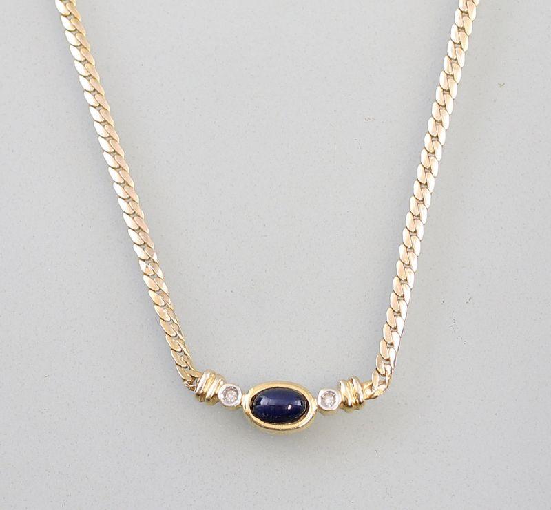 8325022 585er Gold Collier Saphir Brillant