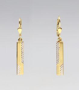 8325098 333er Gold Bicolor-Ohrringe Weißgold Gelbgold L4cm