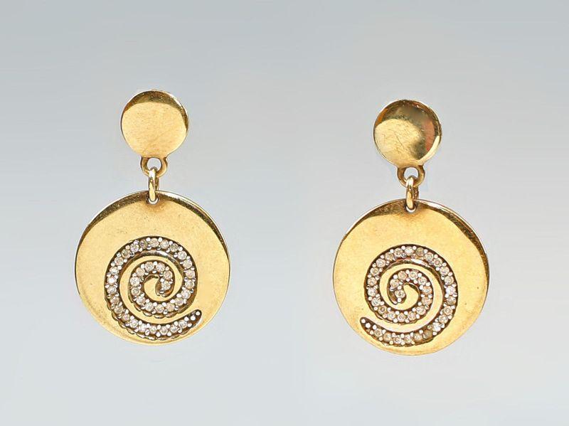 8325086 333er Gold Zirkonia-Ohrstecker Spiral- Ohrringe Brillantschliff