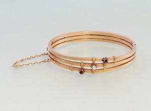8325029 antik 585er Gold Rubin-Brillant-Armreif 19.Jh.