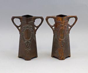 8333022 Paar Vasen Kupfer Jugendstil alt