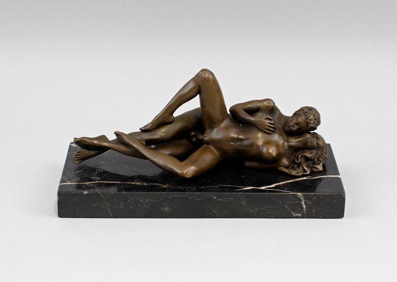 9973013-dss Patoue Skulptur Bronze Figur Akt erotisch Paar liebend 22x10x12cm