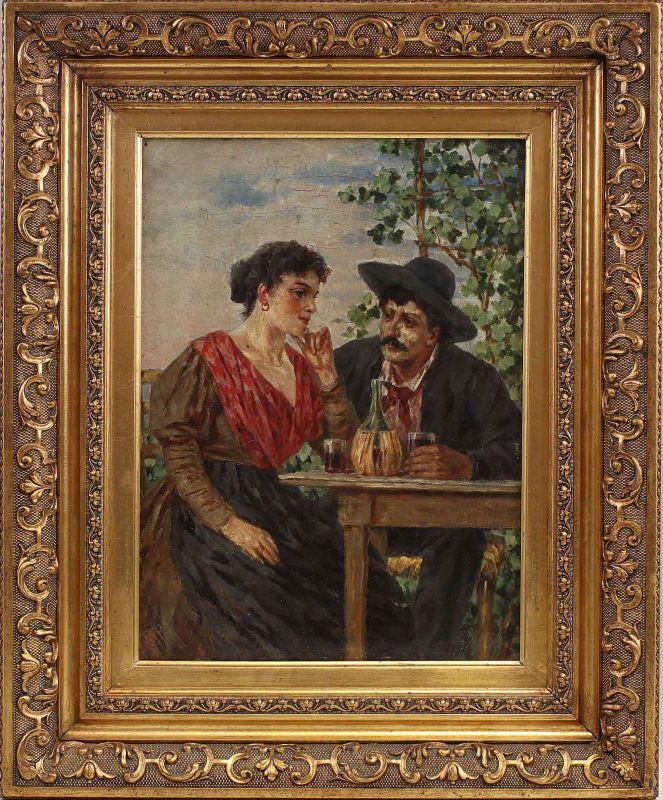 8360006 Ölgemälde signiert Mann und Frau beim Wein Ländlich Bauern Stuckrahmen