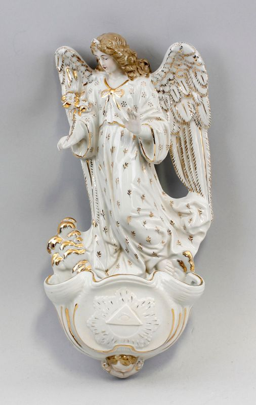 9937081 Porzellan Figur Wand-Weihwasserbecken Engel gold 15x30x5cm