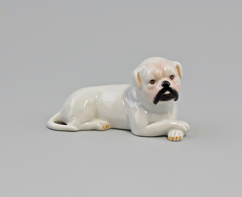 9944401 Kämmer Porzellan Figur Hund Boxer Mops Dogge liegend 9x5cm