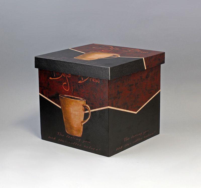 9937676  Schachtel Schatulle Tassen Dekor Quader 24x24x22cm