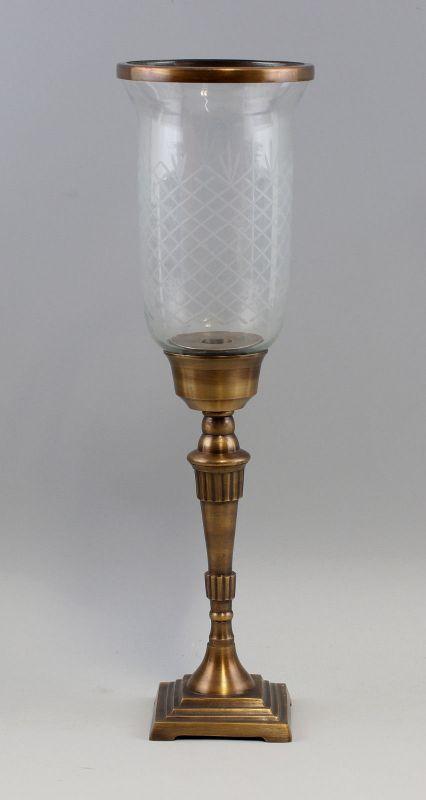 9977518 Windlicht Messing brüniert Kerzenständer Teelicht geschliff. Glas H48cm