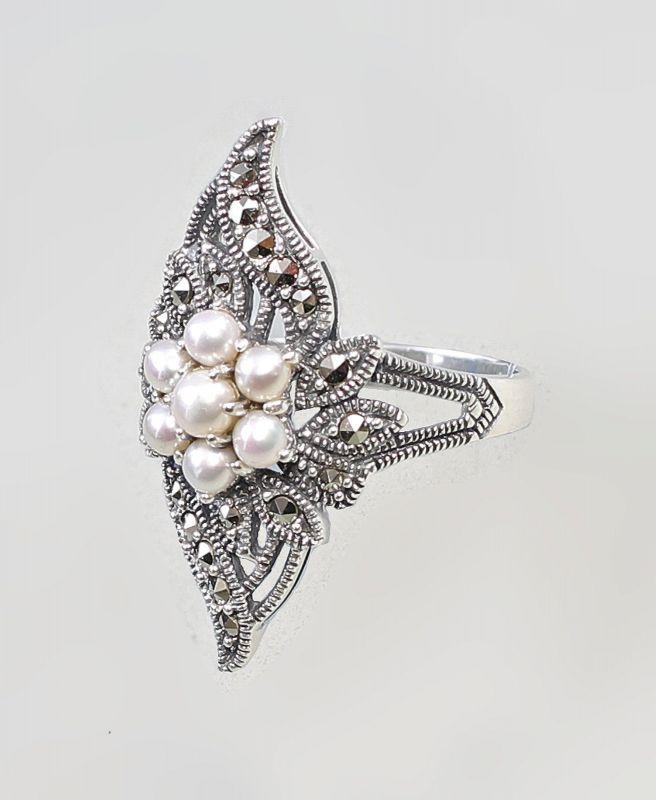 9927207 925er Silber Perlen Ring Markasiten Gr59 Nr 362505964187