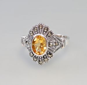 9927516 925er Silber Citrin-Ring Markasiten Gr.56