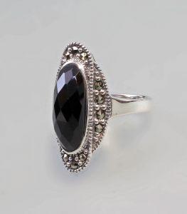9927194 925er Silber Onyx-Ring Markasiten Gr.54