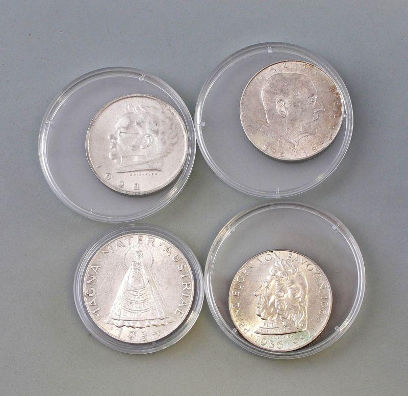 8308001 4 Silber Münzen österreich 1928 36 Schilling Nr