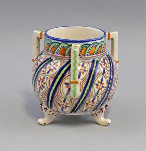 8345013 Keramik Henkel-Vase Jugendstil um 1915 in Fayence-Art