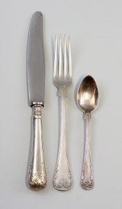 8330020 Speisebesteck teils versilbert teils 12-Lot Silber um 1880 34 Teile