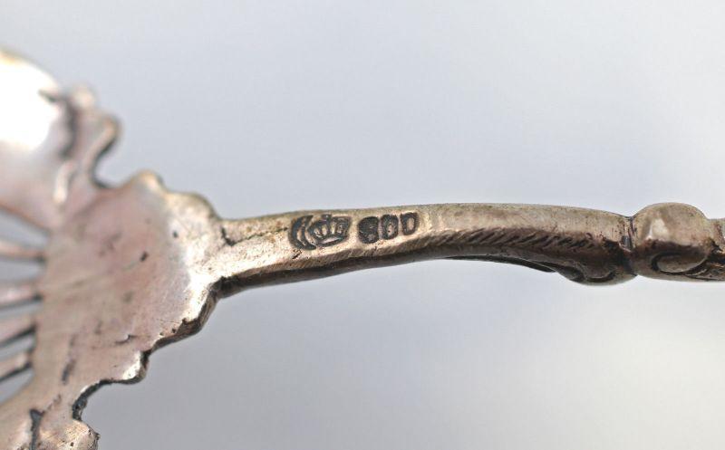 8330007 Silberne Gebäckzange 800er Silber 54 g Historismus 3