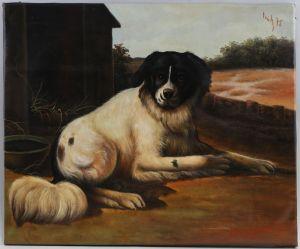 8360042 Ölgemälde signiert Fritz 1975 Sitzender Hund auf Gehöft Jena