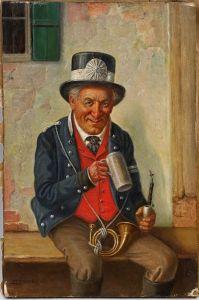8360038 Ölgemälde signiert Ludwig Kohrl Porträt Postillon bei der Rast Kutscher