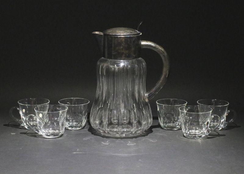 8330060 Kalte Ente Eis-Karaffe versilberte Montierung + 6 Kristall-Becher Peill