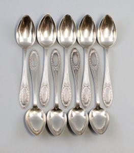 8330045 Satz 9 silberne Kaffee-Löffel Bruckmann & Söhne 800er Silber 214 g
