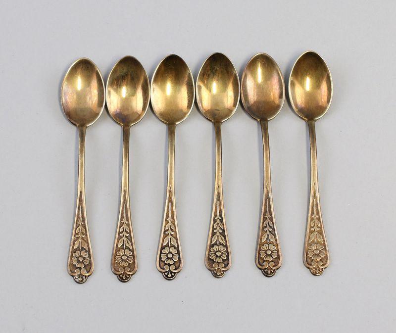 8330050 Satz 6 silberne Mokka-Löffel Russland 875er Silber Baku 1965 108 g