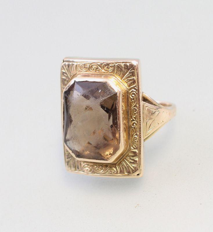 8325139 585er Gold Ring mit Rauchquarz Gr. 54 Handarbeit 19. Jh.
