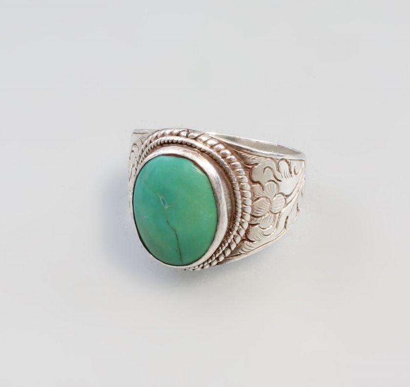 8325078 925er Silber grüner Türkis-Ring Gr.68 Herren-/Damen-Ring