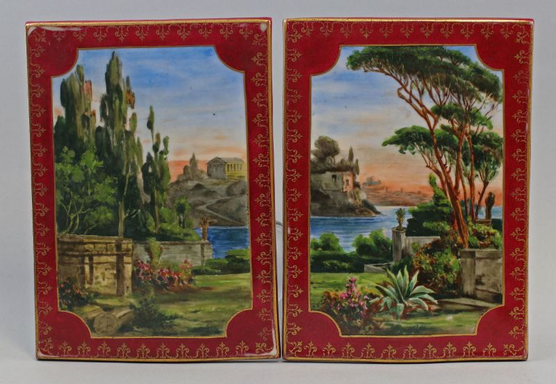 8340064 Paar Porzellan Wandbilder Fliesen handgemalt 19. Jh. mediterranes Motiv