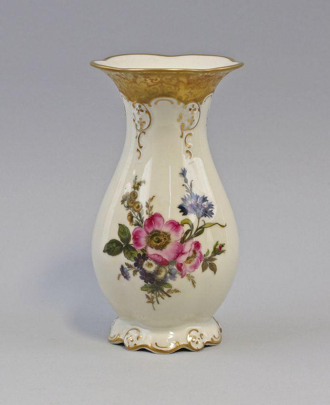 8340052 Porzellan Vase Rosenthal Moliere um 1950 Blumendekor