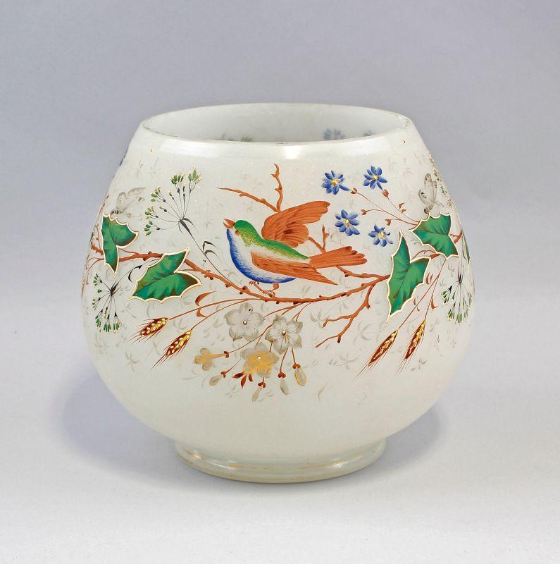 8335125 Glas Vase Emaille-Malerei 19. Jh. Milchglas Floraldekor Vögel