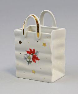 9942803 Wagner&Apel Porzellan Schale als Tasche Weihnachtsstern 10x8x15cm
