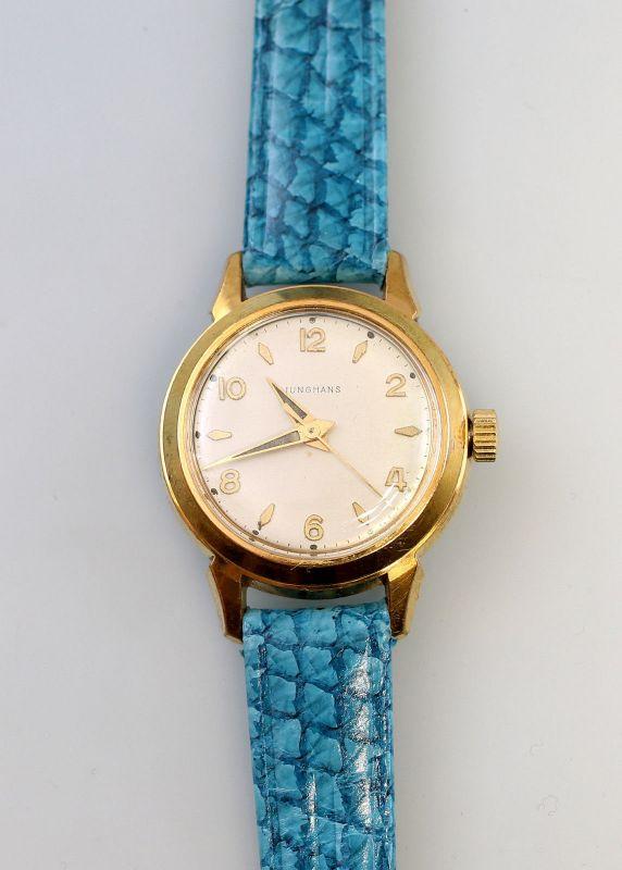 8320010 Vergoldete Damen-Armbanduhr Junghans um 1960 Retro