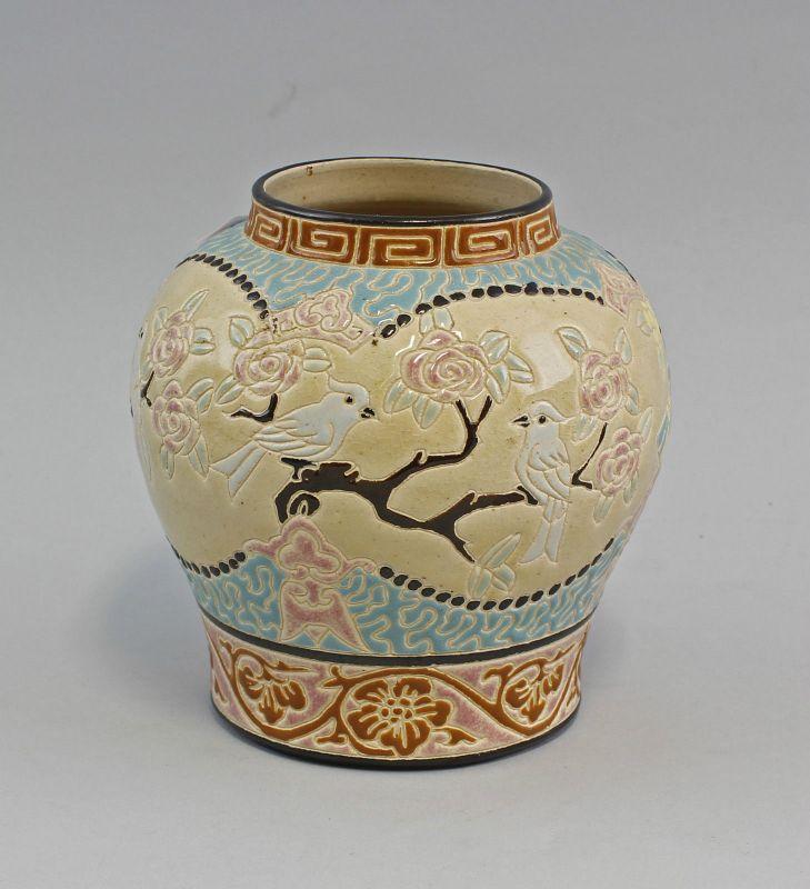 8345041 Vase Ritzdekor bauchiger Korpus farbig bemalt