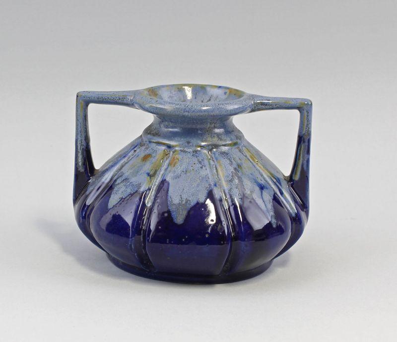 8345037 Keramik Jugendstil-Vase Amphore Laufglasur
