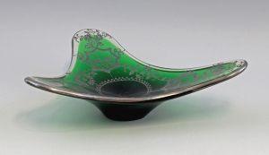 8335068 Glas Designer Schale Murano Kristallglas 50er/60er Jahre Silberauflage