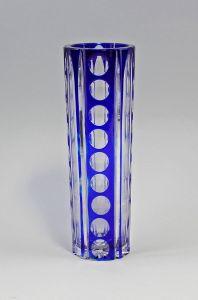 8335050 Blaue Überfang-Stangenvase Kristallglas geschliffen