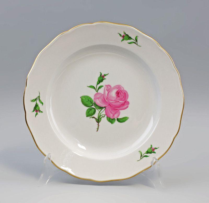 8340099 Porzellan Speise-Teller Meissen Form Neuer Ausschnitt Meissner Rose