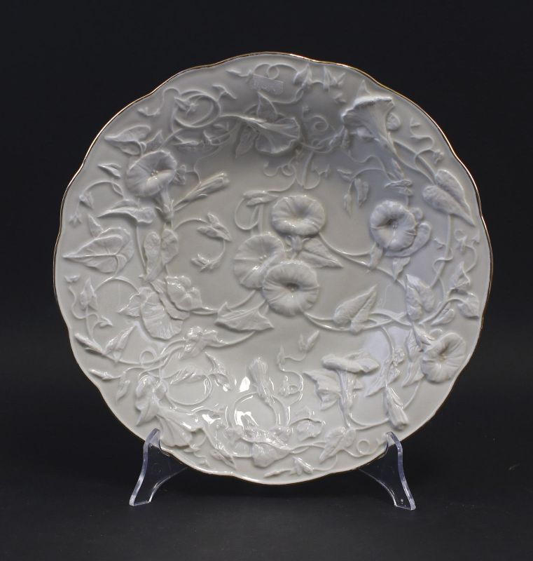 8340109 Porzellan Relief-Teller Meissen 19. Jh. Floraldekor
