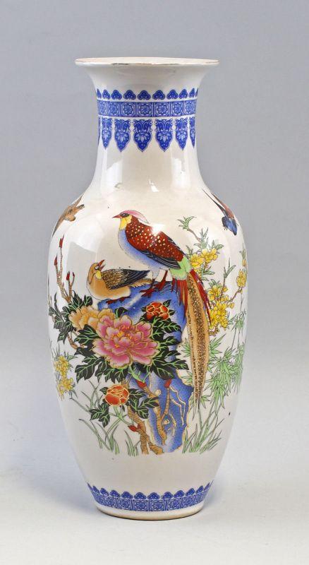 8339068 Asiatische Vase Porzellan Paradiesvögel H36cm