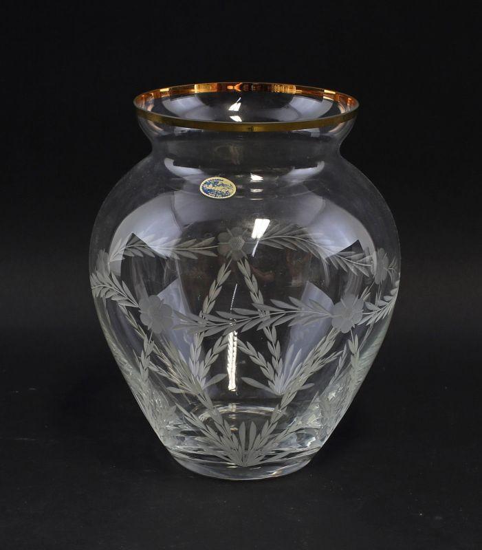 8335045 Handgeschliffene Baluster-Vase Glas Kristall Böhmen Goldrand