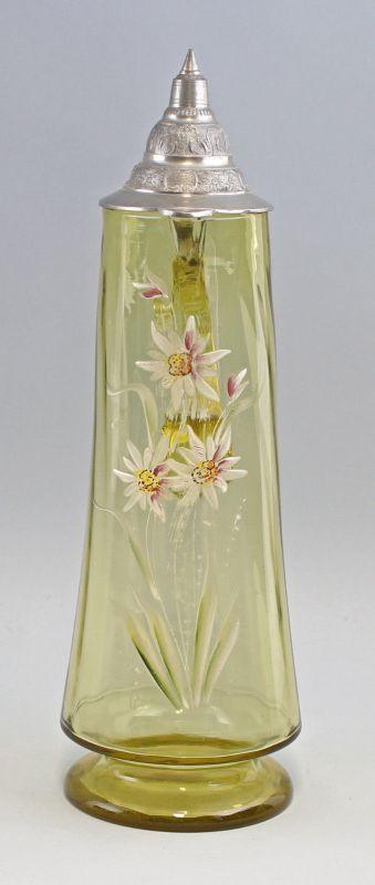 8335073 Glas Schenk-Krug florale Emailmalerei um 1900