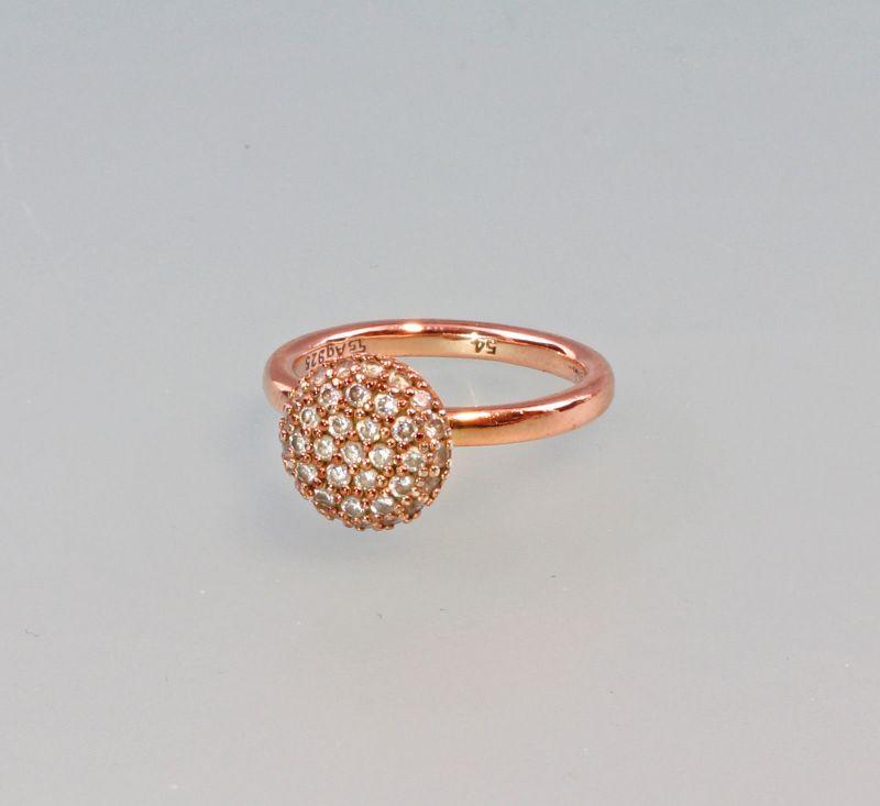 8325406 Zirkonia-Ring 925er Silber rotvergoldet Gr.53