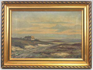 8360076 Öl-Gemälde signiert Norddeutsche Landschaft Heide Dünen um 1900/20