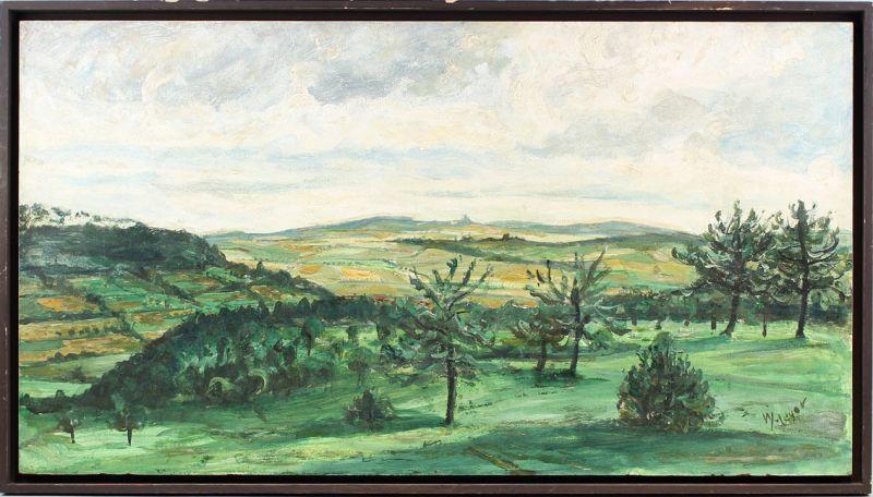 8360125 Ölgemälde sign. Meyer, Prof. W., Landschaft an der Ronneburg