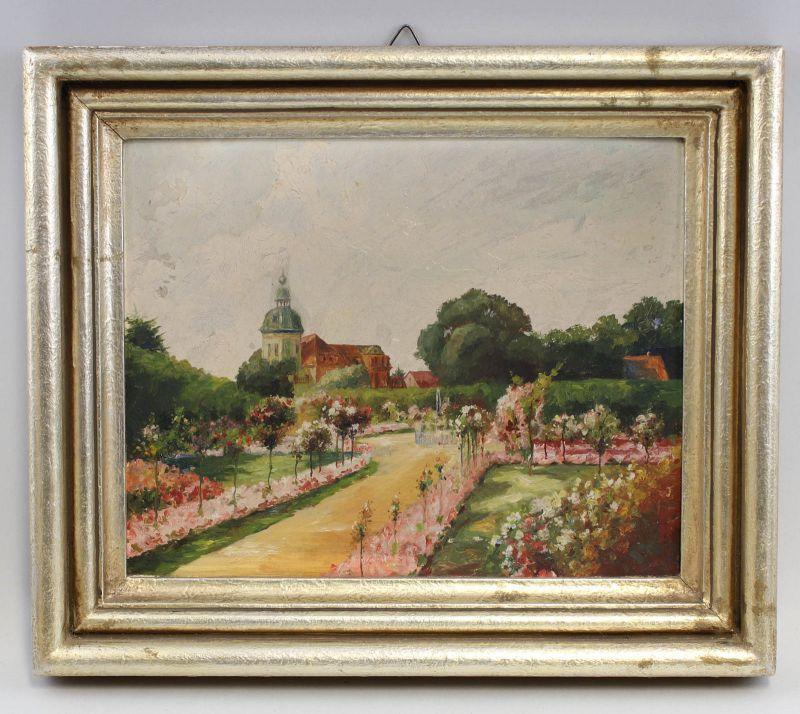 8360082 Öl-Gemälde Ansicht von Schloss Christiansburg Eisenberg Schlossgarten