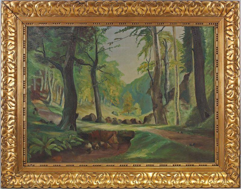 8360119 Öl-Gemälde signiert Henning 1939 Waldstück in Jugendstil-Rahmen