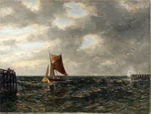 8360053 Ölgemälde Fischerboot vor Hafen F. E. Morgenstern