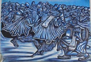 8360128 Öl-Gemälde signiert Iddriss 2013 Ghana Männer beim Tanz gerollt