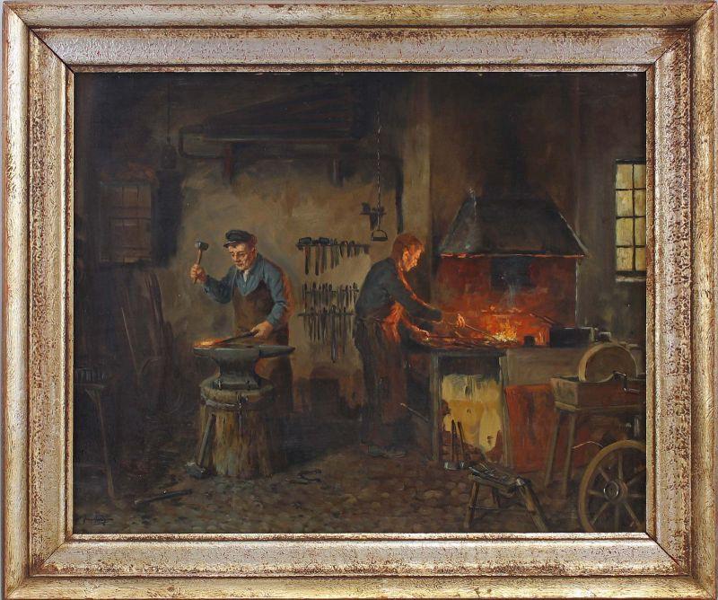 8360066 Öl-Gemälde sign. In der Schmiede Interieur Werkstatt Handwerk