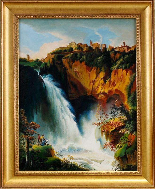 8360178 Öl-Gemälde Gaston Choron Landschaft mit Wasserfall Klassizismus